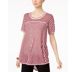 NY Collection Mixed-Stripe High-Low T-Shirt, Red
